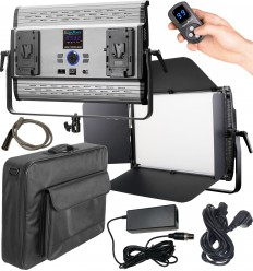 LEDP-150PRO-DMX - Eclairage LED de studio Video & Photo 150W + 150W Bi-Couleur, DMX-512, Support de batteries 2x V-Mount, DC 36V