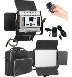 LEDP-60PRO-DMX - Eclairage LED de studio Video & Photo 60W + 60W Bi-Couleur, DMX-512, Support de batteries 2x NP-F750/960, DC 13V-19V