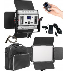 LEDP-60PRO-DMX - Eclairage LED de studio Video & Photo 60W + 60W Bi-Couleur, DMX-512, Support de batteries 2x NP-F750/960, DC 13