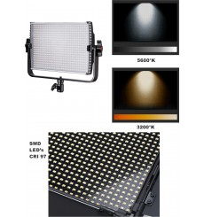 LEDP-36PRO - Eclairage LED de studio Video & Photo 36W + 36W Bi-Couleur, Support de batteries 2x NP-F750/960, DC 13V-19V