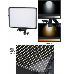 LEDP-60 - Eclairage LED de studio Video & Photo 60W + 60W Bi-Couleur, Support de batteries 2x NP-F750/960, DC 13V-17V