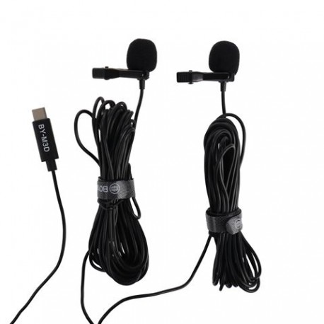 Boya Dual Clip-on Lavalier Microphone BY-M3D for USB-C