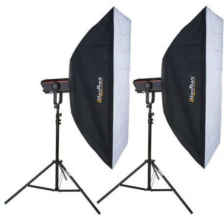 Kit Flash de Studio Photo - 2x FX-600-PRO 600 Ws Affichage numériqe, 2x trépied 250cm, 2x softbox 80x120cm - elfo