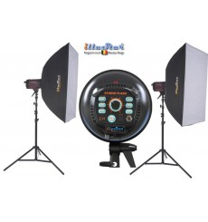 Kit Flash de Studio Photo - 2x FI-300A 300 Ws, 2x trépied 250cm, 2x boîte à lumière 60x90cm - illuStar